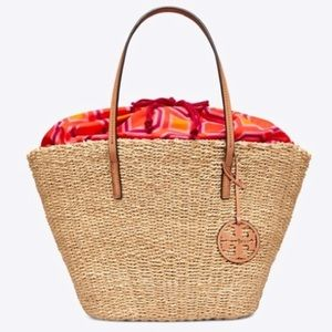 Tory Burch straw woven draw string summer tote bag
